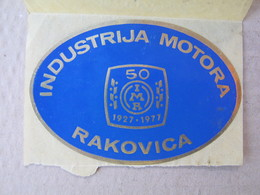 Sticker / IMR - Industry Motors Rakovica (Serbia) - Industrija Motora Rakovica / Anniversary 1927-1977 - Tracteurs