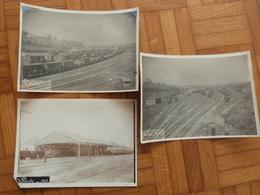 Aveyron, Rodez, 3 Photos De La Gare En 1912. - Trains