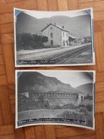 Ariège, Ax-les-Thermes, 2 Photos De La Gare En 1910. - Trains