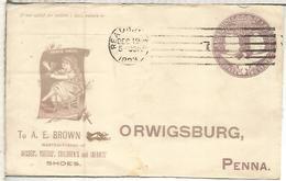 ESTADOS UNIDOS 1893 ENTRO POSTAL A BROWN SHOE FACTORY FABRICA DE ZAPATOS TEXTIL - Textil