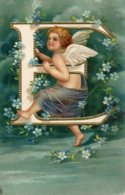 """UNITED KINGDOM - Raphael Tuck Cupids Alphabet Series 6114 - Angels Letter """"E"""" Embossed - Phantasie"""
