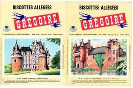 2 Buvards Biscottes Grégoire. N° 92, Château De Trecesson à Campeneac Et N° 96, Château De Brissac. - Biscottes