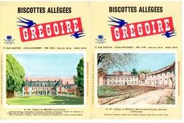 2 Buvards Biscottes Grégoire. N° 101, Château Du Bouilh à St André De Cubzac Et N° 102, Château De Ménars. - Biscottes