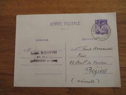 Lavoncourt Hte  Saone Vins Lucien Boudot 1fr20 Iris Sur CP1945 - Marcophilie (Lettres)