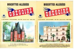 2 Buvards Biscottes Grégoire. N° 103, Château De Bourdeille Et N° 104, Château De Carrouges. - Biscottes