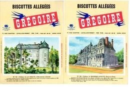 2 Buvards Biscottes Grégoire. N° 105, Château De La Voulte Et N° 107, Château De Maisons-Laffitte. - Biscottes
