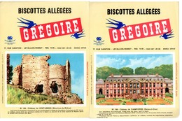 2 Buvards Biscottes Grégoire. N° 108, Château De Dampierre Et N° 108, Château De Ventabren. - Biscottes