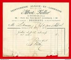 FACTURE (Réf : D700) TEINTURERIE ALSACE-ET-LORRAINE - ALBERT KELLER DE BOUXWILLER (Alsace) USINE À VAPEUR -  BORDEAUX - 1800 – 1899