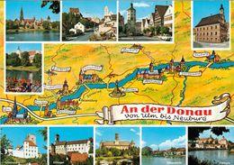 1 Map Of Germany * 1 Ansichtskarte Mit Der Landkarte - An Der Donau Von Ulm Bis Neuburg * - Landkaarten