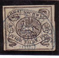 ALLEMAGNE ANCIENS ETATS BRUNSWICK: YT5 1/3sh  OBLITERE CACHET BLEU ...TB SIGNE EXPERT CALVES - Brunswick