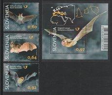 SLOVENIA 2014 Fauna/Bats: Set Of 3 Stamps & Miniature Sheet UM/MNH - Fledermäuse