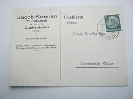 1933 , CUCHENHEIM , Klarer Stempel Auf Firmenkarte - Briefe U. Dokumente