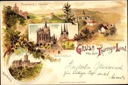 Lithographie Cp Erfurt In Thüringen, Dom In Erfurt, Wartburg, Rudelsburg V. Saaleck, Schwarzburg - Germany