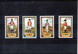 ST.Kitts Nº 527-30 Uniformes Militares, Serie Completa En Nuevo - Militares