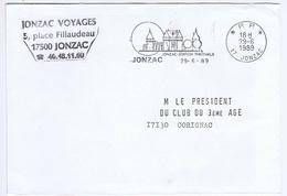 CHARENTE-MARITIME - Flamme Port Payé Illustrée à Gauche JONZAC Du 29-6  1989 - Marcophilie (Lettres)