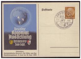 Dt- Reich (007681) Postkarte Propaganda Deutsche Kolonial Ausstellung Dresden, Blanco Gest. Mit SST Dresden Am 24.6.1939 - Briefe U. Dokumente