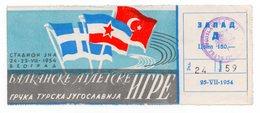 1954 YUGOSLAVIA, GRECE, TURKEY, BALKAN ATHLETIC GAMES, BELGRADE, NOT USED - Tickets - Vouchers