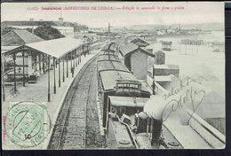 """Portugal - Imprimés Carte U.P.U - Corr. Pour Rambervillers (Fr) Cpa """" Algès -Estaçao Do Caminho De Ferro E Praia"""" B/TB - - 1910 : D.Manuel II"""
