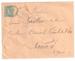 AMBERIEUX à LYON Lettre Convoyeur Type 1 Ob 15/10/ 1905 15 C Semeuse Lignée Vert Yv 130 - Railway Post