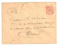ANDUZE à ALAIS Lettre Convoyeur Type 1 Ob 23/11/ 1901 15 C Mouchon Yv 117 - Railway Post