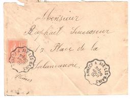 ANNECY à AIX LES BAINS Lettre Convoyeur Type 2 Ob 29/8/ 1901 15 C Mouchon Yv 117 - Railway Post