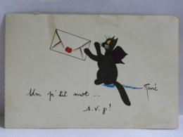 CPA - Un P'tit Mot... S.V.P.  Chat Noir - Illustrateur René - Katten