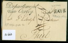 UIT 1815 POSTHISTORIE * VOORLOPER * BRIEFOMSLAG *  DEPARTEMENT Van OORLOG LANGSTEMPEL LA HAYE Naar THIEL TIEL   (11.663) - Pays-Bas