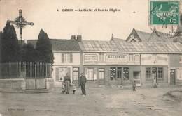 80 Caron Le Christ Et Rue De L' Eglise Magasin Azeronde Cachet 1914 - Autres Communes