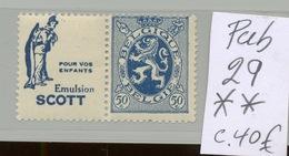 PUB 29 **  Cote 40,- Euros. Huile De Foie De Morue Cod Cabillaud Stockvis - Advertising