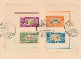 Nederlands Indië - 1933 - Hoekstukken Van De AMVJ-serie Met Pelikaan Afstempeling Op Kaartje - Indes Néerlandaises