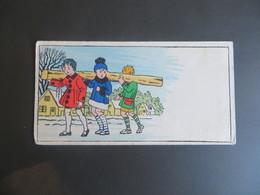 Petite Carte Type Mignonnette Enfants Portant Un Rondin De Bois Technique Pochoir Bonne Année Recto - Phantasie