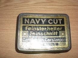 Old Tin Box Navy Cut Feinsterheller Feinschnitt Carl Wilh. Carstanjen Duisburg - Boites à Tabac Vides
