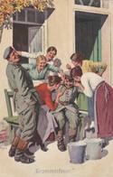 AK  Trommelfeuer - Deutsche Soldaten Mit Frauen - Patriotika - Humor - Feldpost Landst.-Reg. 107 - 1. WK  (45387) - Weltkrieg 1914-18