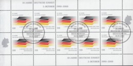 BRD 2142, Kleinbogen, Gestempelt, 10 Jahre Deutsche Einheit 2000 - [7] Repubblica Federale