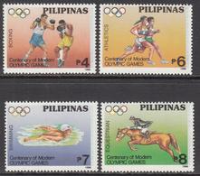 1996 Philippines Olympics Boxing Equestrian Horses  Complete Set Of 4 MNH - Filippijnen