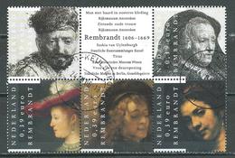 Pays-Bas YT N°2334/2338 Rembrandt (Timbres Se-tenant) Oblitéré ° - Periodo 1980 - ... (Beatrix)