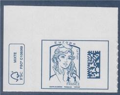 = Marianne Ciappa Kawena Adhésif Europe N°1216 Coin Feuille Avec Logo écologie Datamatrix Marianne Et La Jeunesse - 2013-... Marianne De Ciappa-Kawena