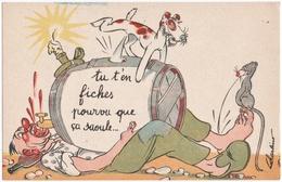 """ILLUSTRATEUR CHARLINO. ALCOOLISME. VIN. CHIEN. SOURIS. """" TU T'EN FICHES POURVU QUE CA SAOULE..."""" - Illustrateurs & Photographes"""