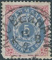 DANIMARCA - DANMARK 1875 Royal Symbol, 5Øre Red/blue, Used, Value € 60.00 - Usati