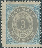 DANIMARCA - DANMARK 1875 Royal Symbol, 3Øre Blue/gray Hinged,Original Gum - Nuovi