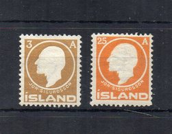 Islanda - 1911 - Jon Sugurdsson - 2 Valori (3 E 25 A) - Nuovi - Linguellati * - (FDC18749) - Neufs
