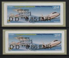2 Atms, Nabanco, DD 0.85/0.86€,  E-max, EXPOSITION PHILATELIQUE, VELIZY-VILLACOUBLAY.Avion Bréguet XIV Et Falcon 2000. - 2010-... Illustrated Franking Labels