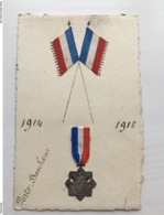 Foto Ak Handgemahlt Patriotique Medaillon Porte Bonheur - War 1914-18