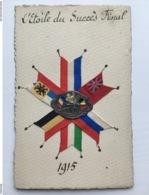 Foto Ak Handgemahlt Patriotique Medaillon Kanon Drapeau S Entente 1915 - Weltkrieg 1914-18