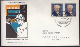 Germany Berlin 1971 / 150th Anniversary Of Herman Von Helmholtz Birth - Scientist, Medicine - FDC: Covers