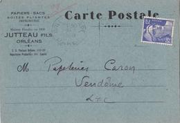 ♦ -   CARTE POSTALE COMMERCIALE ORLÉANS- GARE N°2+ TIMBRE GANDON - Commerce