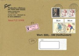 Bund Wertbrief Vom 20.7.1993 Linnich Nach Halberstadt - [7] Repubblica Federale