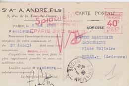 CP Pré-imprimée (Sé Ame A. André Fils...), EMA 40c (B 0021, Graissez Spidolèine...moteur) Paris 22 Le 2 Mai 28 - Fabriken Und Industrien