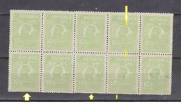 Errors Romania 1920 King Ferdinand  10 Bani Green,, Souvenir Sheet  X10 Sstamps Withhorizontal Line Above The Head, Mnh - Variedades Y Curiosidades
