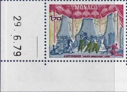 Monaco Poste N** Yv:1193 Mi 1387 Yv:2,3 Euro Jacques Offenbach La Gaieté Parisienne Coin De Feuille Daté 29-6-79 - Monaco